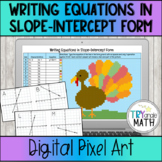 Slope-Intercept Form Digital Pixel Art - Thanksgiving