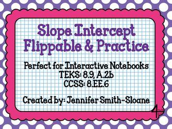 Slope Intercept Form Flippable and Practice for Interactive Notebooks