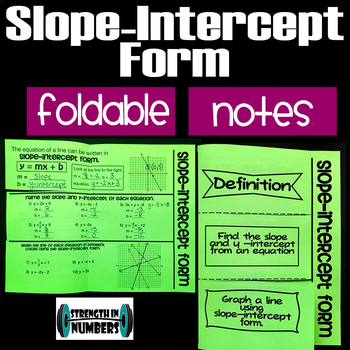 Slope-Intercept Form Big Foldable Notes Interactive Notebook