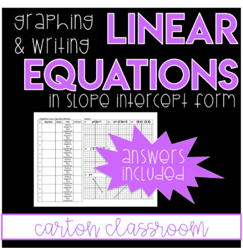 Linear Equations - Graphing and Writing in Slope Intercept Form