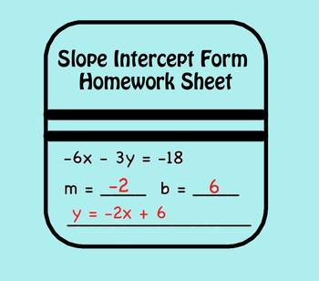 Slope Intercept Form Homework Sheet