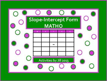 Slope Intercept Form MATHO
