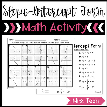 slope intercept form matching activity  Slope-Intercept Form Matching Activity