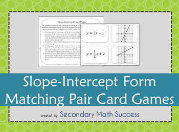 Slope Intercept Form Matching Pair Card Games
