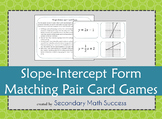 Slope Intercept Form Matching Pair Card Games