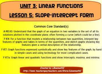 Slope-Intercept Form (Math 1)