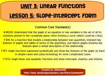 Slope-Intercept Form (Math 1)