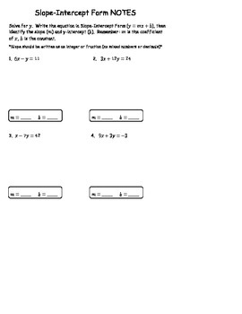 Slope-Intercept Form NOTES