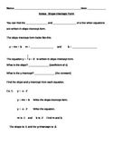 Slope Intercept Form Notes and Assignments