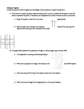 Slope-Intercept Form Practice Packet - EDITABLE
