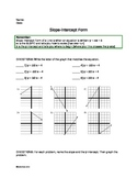 Slope Intercept Form Practice Worksheet