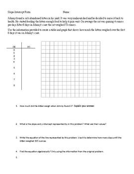 slope intercept form in spanish  Slope-Intercept Form Problem Solving Multi-Step Question English and Spanish
