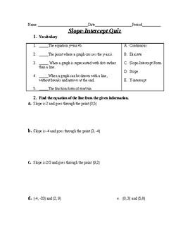 slope intercept form quiz pdf  Slope And Slope Intercept Form Quiz Worksheets & Teaching ...