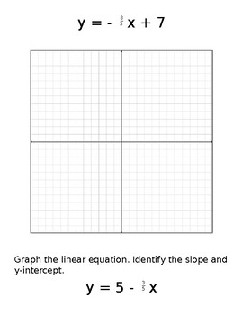 Slope-Intercept Form Small Group Problems