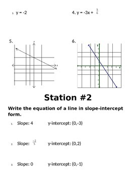 Slope Intercept Form Stations