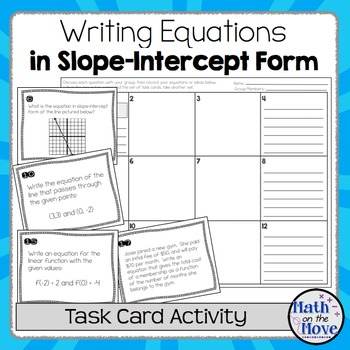 Writing Equations In Slope Intercept Form Task Card Activity Tpt