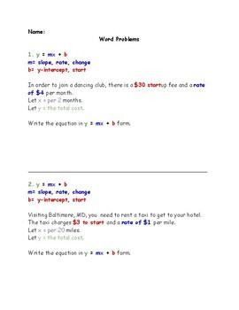 Slope-Intercept Form Word Problems by Lauren Gilmore | TpT
