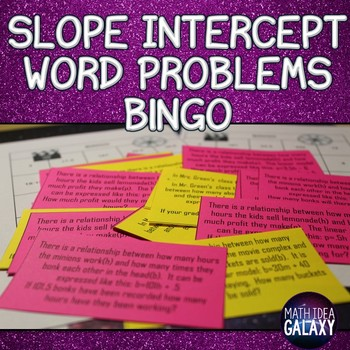 Slope Intercept Form Word Problems Bingo
