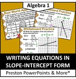 (Alg 1) Writing Equations in Slope-Intercept Form in a PowerPoint Presentation