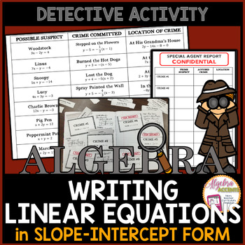 Writing Linear Equations in Slope Intercept Form Detective Activity