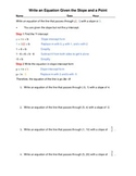 Slope Intercept Form; given a point and the slope