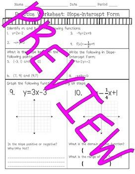 Slope Intercept Form of Linear Equations mini bundle
