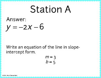 Slope Intercept Form of a Line Scavenger Hunt by Mrs E Teaches Math