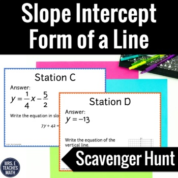 Slope Intercept Form of a Line Scavenger Hunt