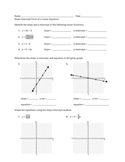 Slope Intercept Form of a Linear Equation Worksheet