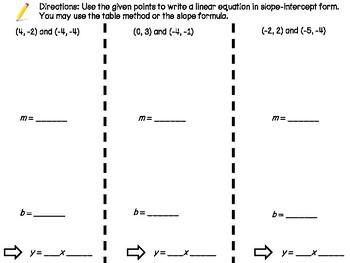 Slope Intercept Given 2 Points