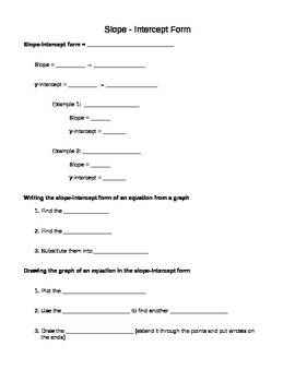 Slope-Intercept Guided Reference Notes