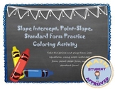 Slope Intercept, Point-Slope, Standard Form Practice Coloring Activity
