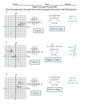 Slope Intercept Practice #2 CC 7.EE.4