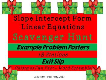 Slope Intercept Scavenger Hunt - Christmas Fun Fact Word Scramble