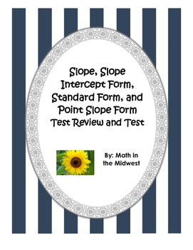 Slope Intercept, Standard, and Point Slope Form - Review and Exam