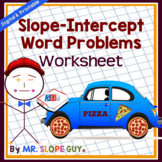 Slope Intercept Word Problems Worksheet PDF Common Core 8.F.A.3 Functions Math