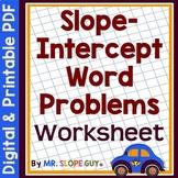 Slope Intercept Word Problems Worksheet PDF Common Core 8.