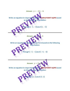 Writing equations in slope intercept and point slope form scavenger hunt