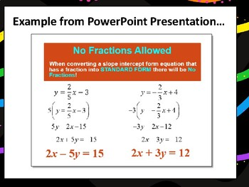 Slope-Intercept and Standard Form of Equations