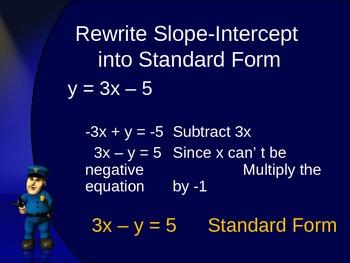 Slope Intercept form to Standard Form