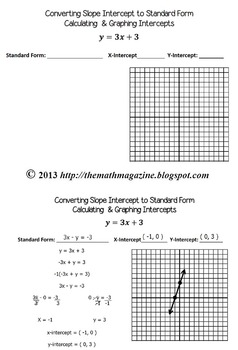 Slope Intercept to Standard Form & Graphing Intercepts Guided Notes with Key