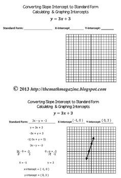 Slope Intercept to Standard Form & Graphing Intercepts Gui
