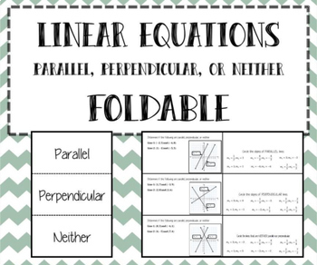 Slope - Linear Equations - Parallel, Perpendicular, & Neither INB FOLDABLE