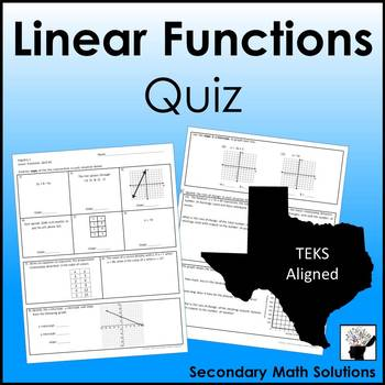 Linear Functions Quiz