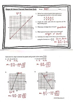 Slope & Linear Parent Function Quiz