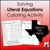 Literal Equations Coloring Activity (A12E)