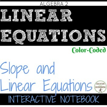 Slope (Rate of Change) Color Coded Interactive Notebook Algebra 2 10% OFF IN SEP