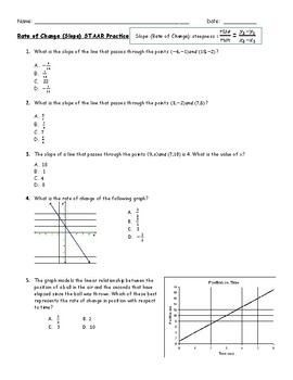 Slope/Rate of Change Multiple Choice Worksheet by Marissa Rodriguez