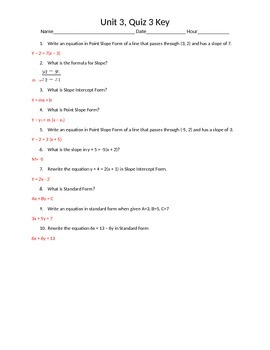 Slope, Slope Intercept Form, Point Slope, Standard Form- Quiz