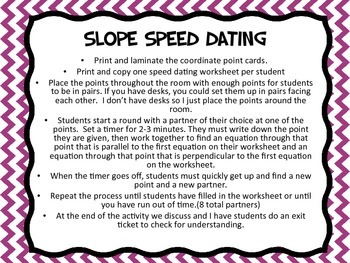 Slope Speed Dating (Parallel and Perpendicular Lines)
